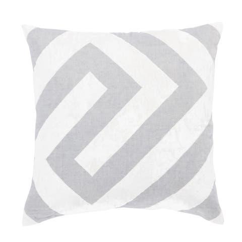 Nikki Chu Hopi Silver/White Geometric Down Throw Pillow 22 inch