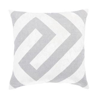Nikki Chu Hopi Silver/White Geometric Poly Throw Pillow 22 inch