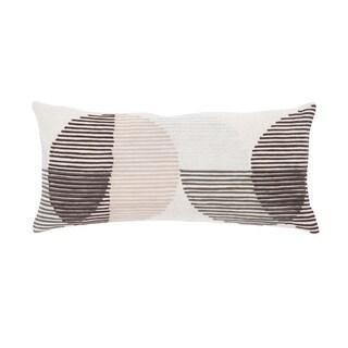 Nikki Chu Salamanca Pink/Ivory Geometric Down Throw Pillow 10X21 inch