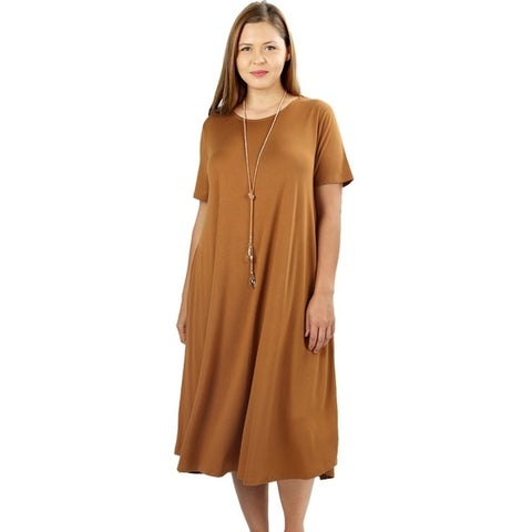 JED Women's Plus Size Soft Fabric Knee Length T-Shirt Dress