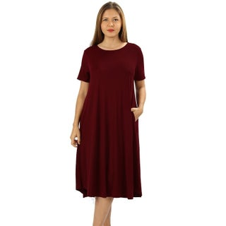 JED Women's Plus Size Soft Fabric Knee Length T-Shirt Dress (More options available)