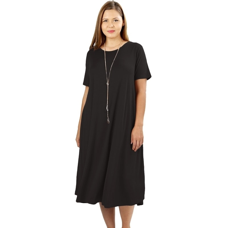 JED Women\'s Plus Size Soft Fabric Knee Length T-Shirt Dress