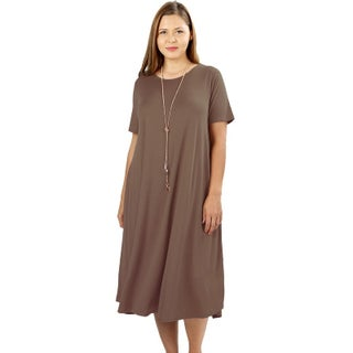 JED Women's Plus Size Soft Fabric Knee Length T-Shirt Dress (Option: Mocha - 1XL)