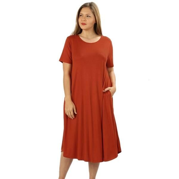 Shop JED Women\'s Plus Size Soft Fabric Knee Length T-Shirt ...
