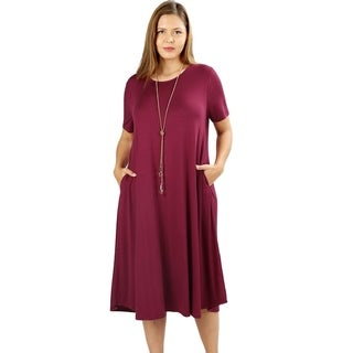 JED Women's Plus Size Soft Fabric Knee Length T-Shirt Dress