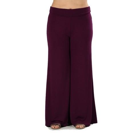 JED Women's Plus Size Soft Fabric Wide Leg Palazzo Pants