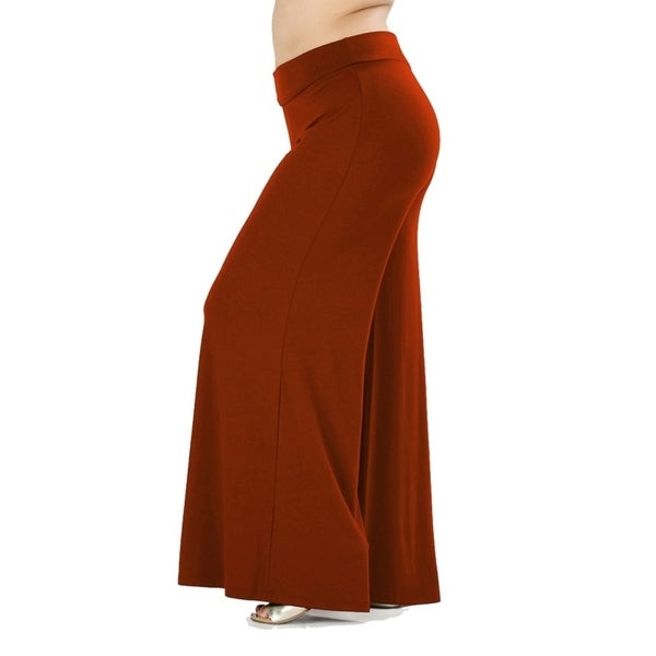 JED Women's Plus Size Soft Fabric Wide Leg Palazzo Pants. Opens flyout.