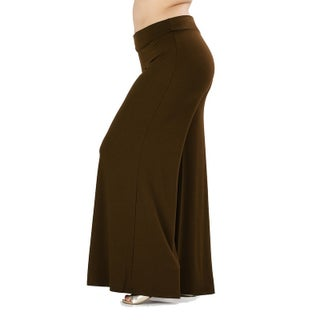 JED Women's Plus Size Soft Fabric Wide Leg Palazzo Pants (Option: Brown - 1XL)