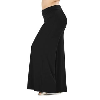 JED Women's Plus Size Soft Fabric Wide Leg Palazzo Pants
