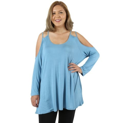 JED Women's Plus Size Comfy Fit Cold Shoulder Tunic Top