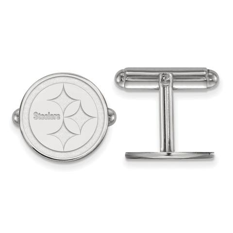 Versil LogoArt Sterling Silver Pittsburgh Steelers Cuff Links