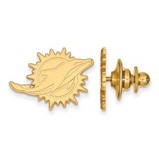Gold Plated Sterling Silver Miami Dolphins Lapel Pin