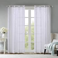Madison Park Ivorie Damask Burnout Window Sheer Curtain Panel