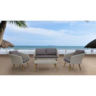 4 Piece Wicker Conversation Sofa Set with Cushions - ARDON