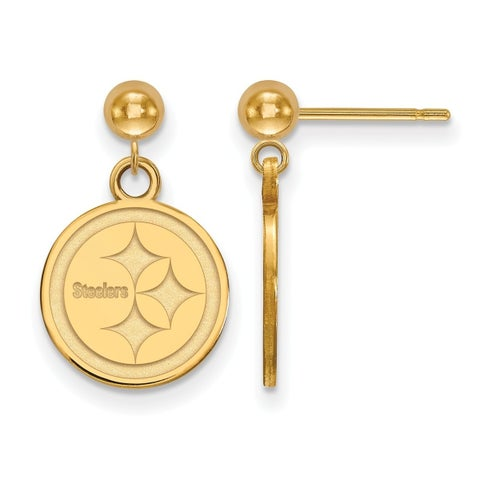Gold Plated Sterling Silver Pittsburgh Steelers Earring Dangle Ball