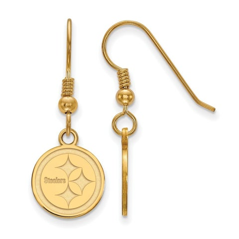 Gold Plated Sterling Silver Pittsburgh Steelers Extra Small Dangle Earring Wire