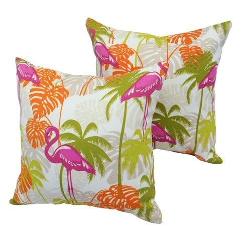 Tropicana Flamingo 17-inch Indoor/Outdoor Throw Pillow (Set of 2)