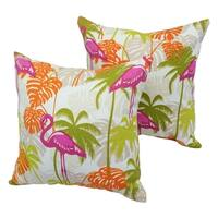 Tropicana Flamingo 17-inch Indoor/Outdoor Throw Pillow (Set of 2)