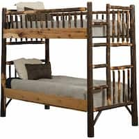 Rustic Hickory Log Bunk Bed Set