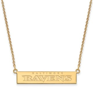 LogoArt Gold Plated Sterling Silver Baltimore Ravens Small Bar Necklace