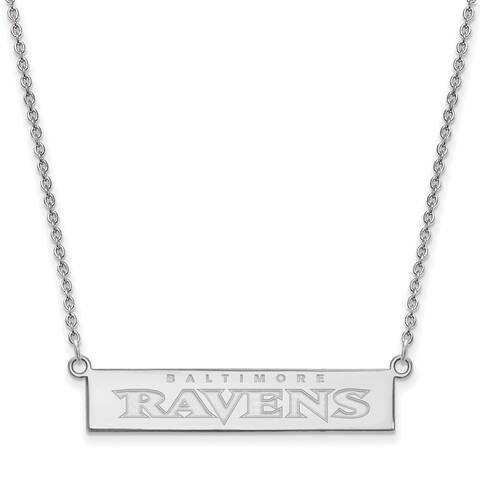 Versil Sterling Silver Baltimore Ravens Small Bar Necklace