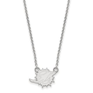 Versil Sterling Silver Miami Dolphins Small Pendant Necklace