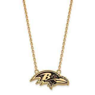 Gold Plated Sterling Silver Baltimore Ravens Large Pendant Necklace