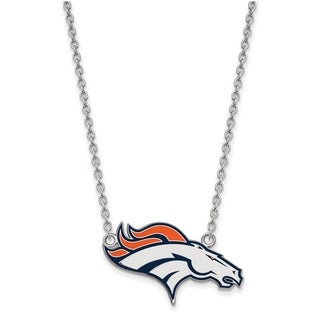 Versil Sterling Silver Denver Broncos Large Pendant With Necklace