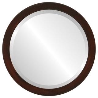 Manhattan Framed Round Mirror in Mocha