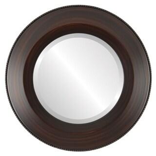 Lombardia Framed Round Mirror in Mocha