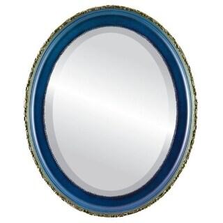 Kensington Framed Oval Mirror in Royal Blue