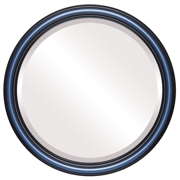 Saratoga Framed Round Mirror in Royal Blue