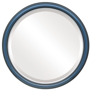 Hamilton Framed Round Mirror in Royal Blue with Silver Lip