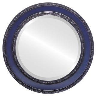 Monticello Framed Round Mirror in Royal Blue