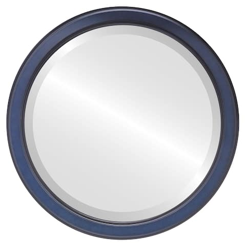 Toronto Framed Round Mirror in Royal Blue
