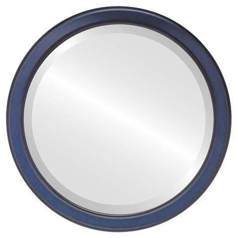Toronto Framed Round Mirror in Royal Blue