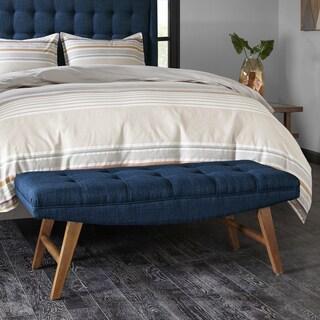 INK+IVY Newport Blue Upholstered Bench