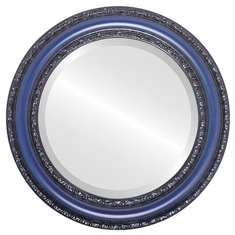 Dorset Framed Round Mirror in Royal Blue
