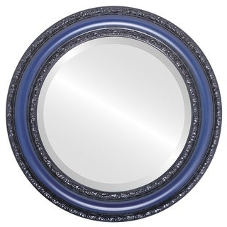 Dorset Framed Round Mirror in Royal Blue