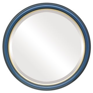 Hamilton Framed Round Mirror in Royal Blue with Gold Lip