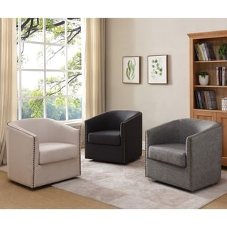 Tyndale Contemporary Linen Swivel Accent Chair by FOA