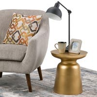 WYNDENHALL Layne Metal Accent Drum Side Table in Gold