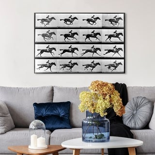 Hatcher and Ethan 'Horse In Motion II' Equestrian Canvas Art - gray