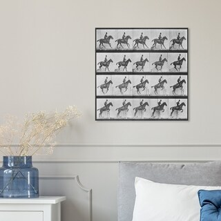 Hatcher and Ethan 'Stages of a Jumping Horse' Equestrian Canvas Art - gray