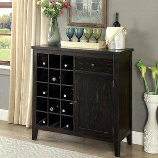 Carbon Loft Collier Rustic Antique Black Wine Cabinet