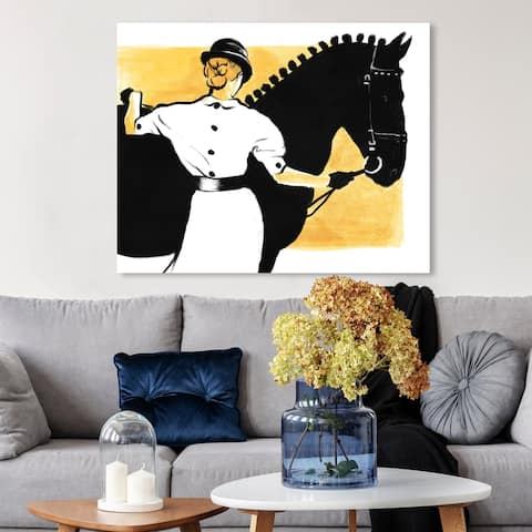 Oliver Gal 'Horse and Rider' Sports and Teams Wall Art Canvas Print - Black, Yellow