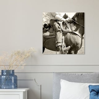 Hatcher and Ethan '15128' Farmhouse, Equestrian Canvas Art - beige, tan