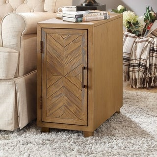 Furniture of America Danners Rustic Light Oak Side Table with USB Outlet