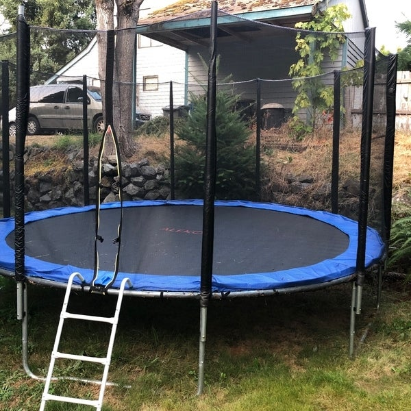 Shop ALEKO 14 Foot Trampoline With Safety Net And Ladder
