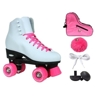Epic Cheerleader High-Top Quad Roller Skates w/ 2 Pair of Laces (White & Pink)